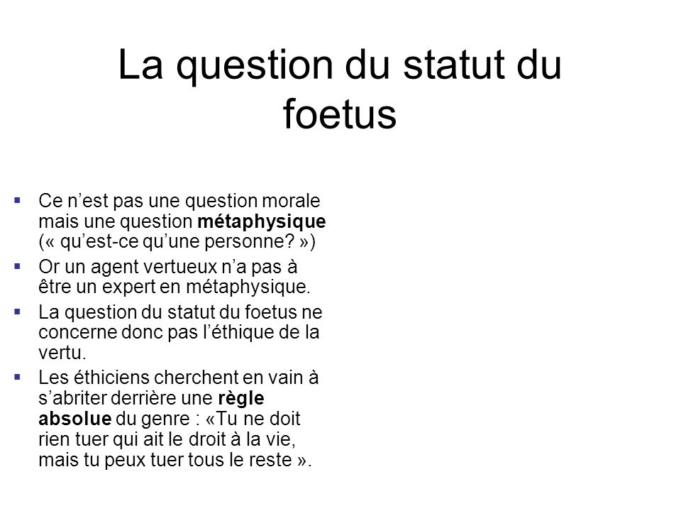 La question du statut du foetus