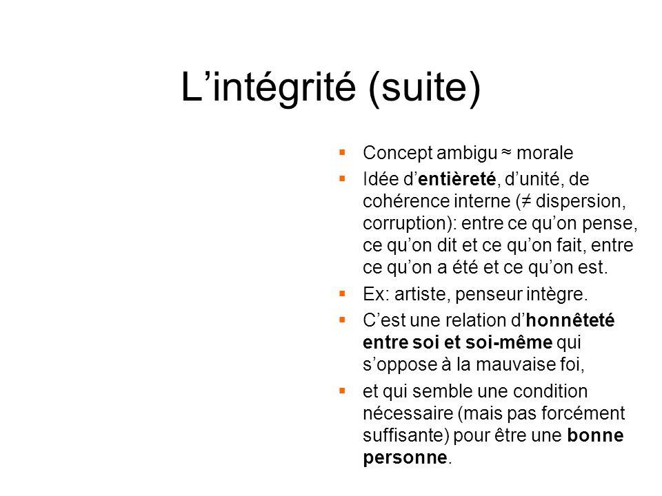 L'intégrité (suite) Concept ambigu ≈ morale