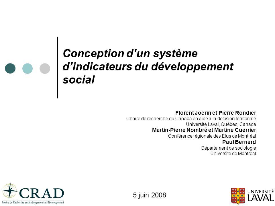 Conception d'un système d'indicateurs du développement social