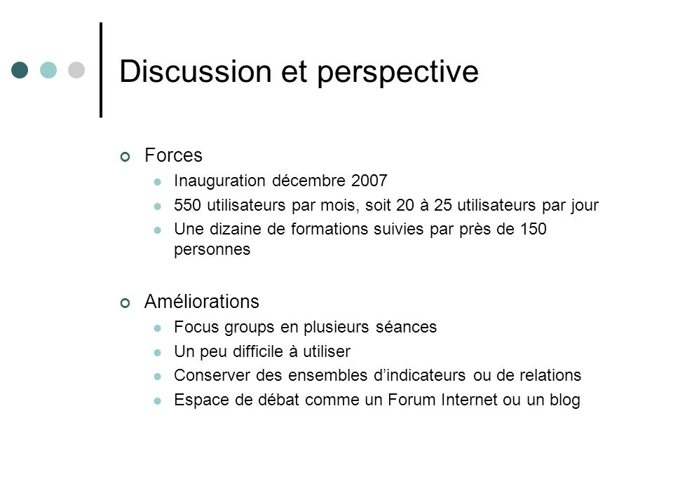 Discussion et perspective
