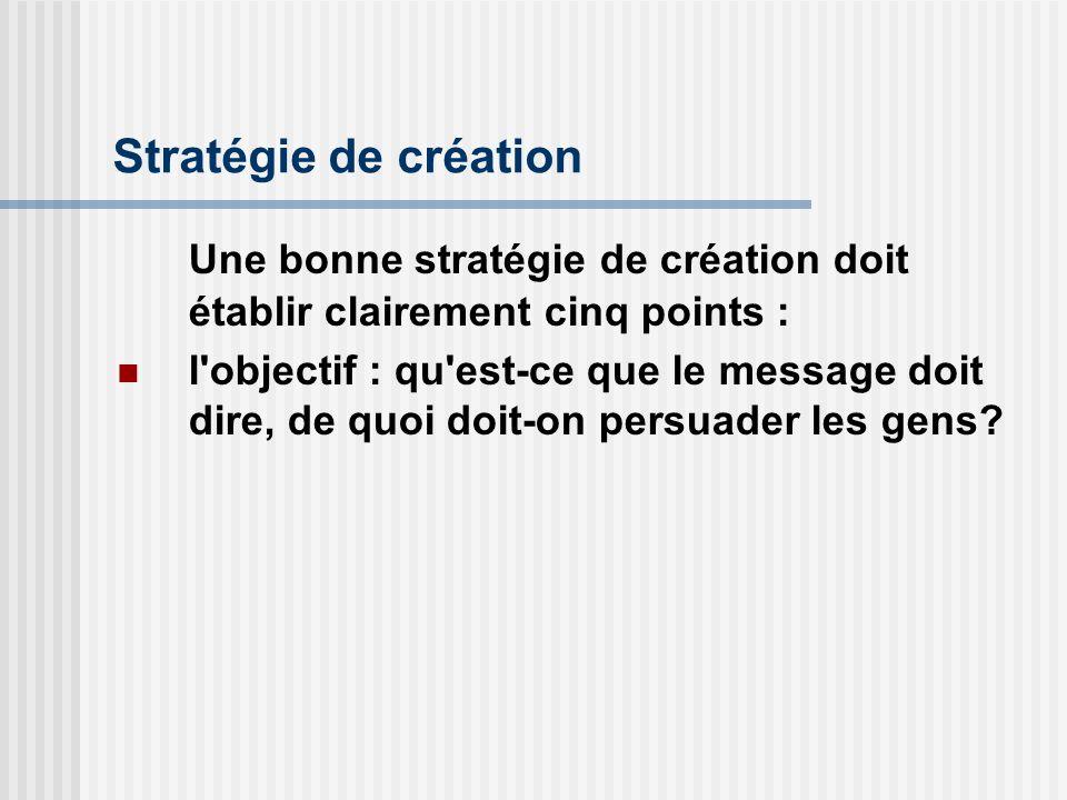 Une bonne stratégie de création doit établir clairement cinq points :