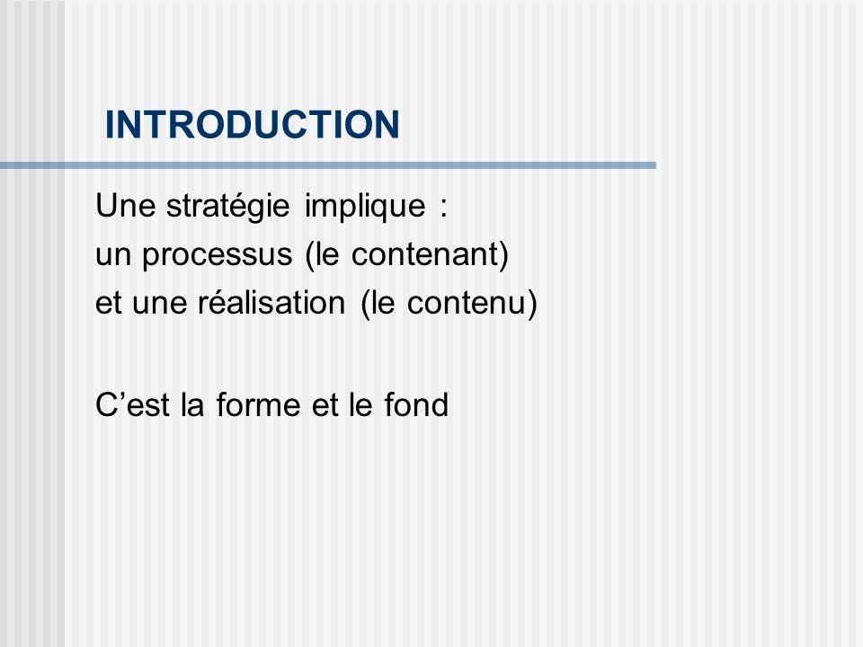 INTRODUCTION Une stratégie implique : un processus (le contenant)