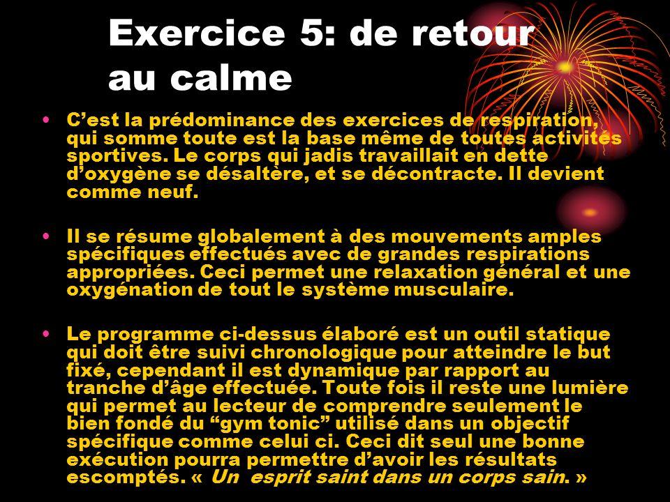 Exercice 5: de retour au calme