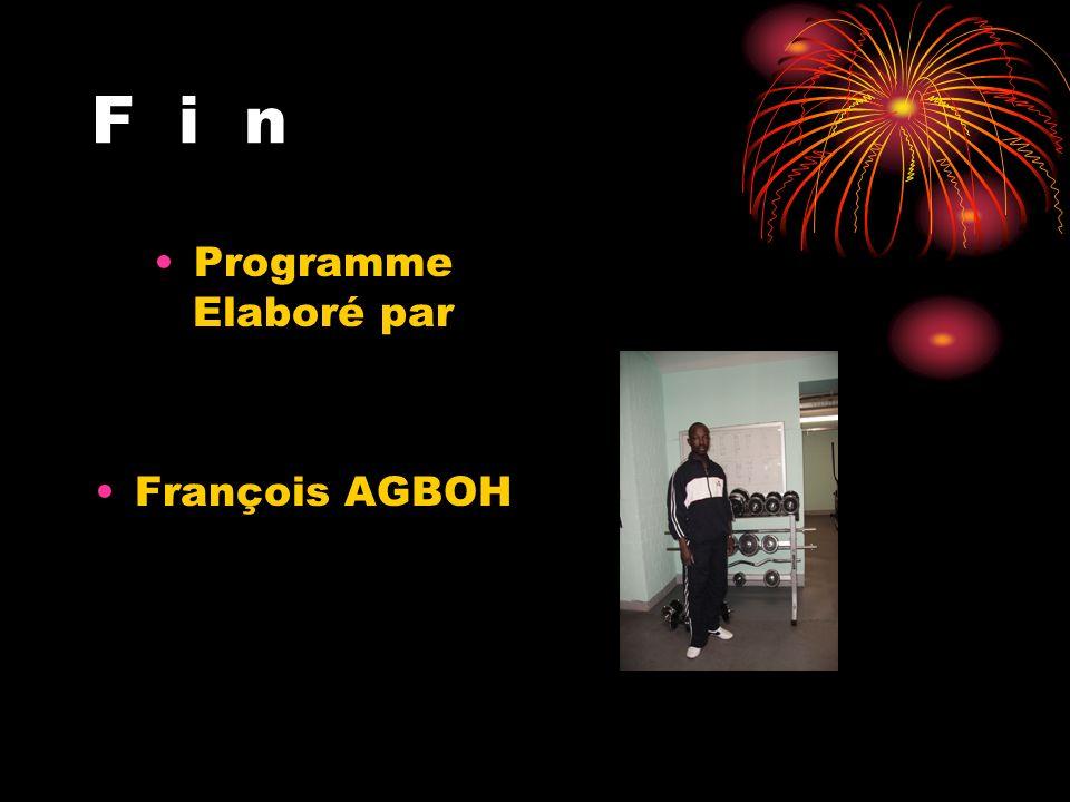 F i n Programme Elaboré par François AGBOH