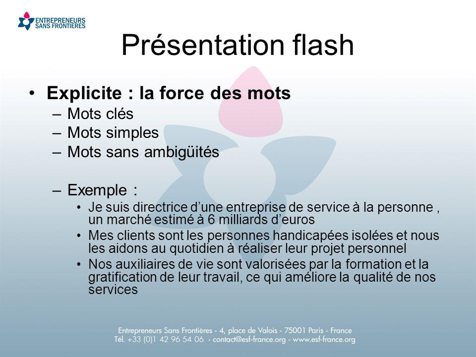 Présentation flash Explicite : la force des mots Mots clés