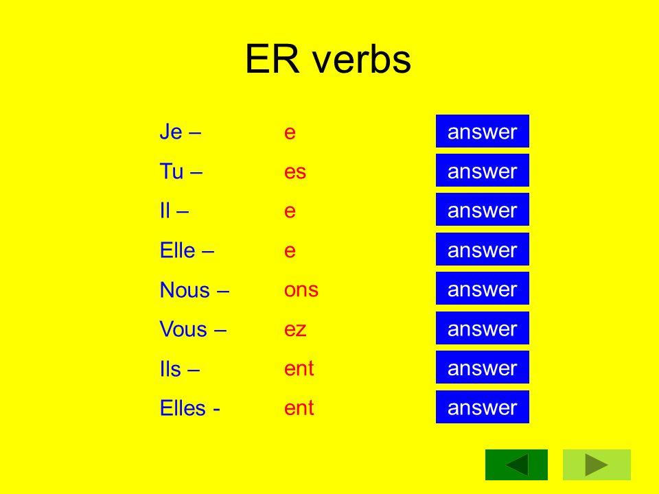 ER verbs Je – Tu – Il – Elle – Nous – Vous – Ils – Elles - e answer es