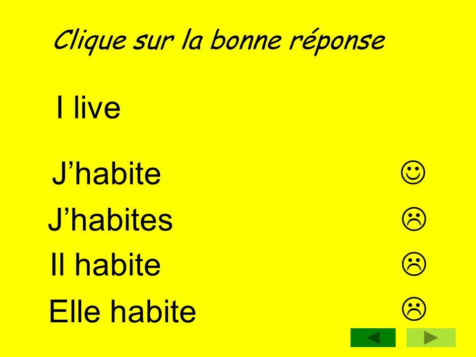 I live J'habite  J'habites  Il habite  Elle habite 