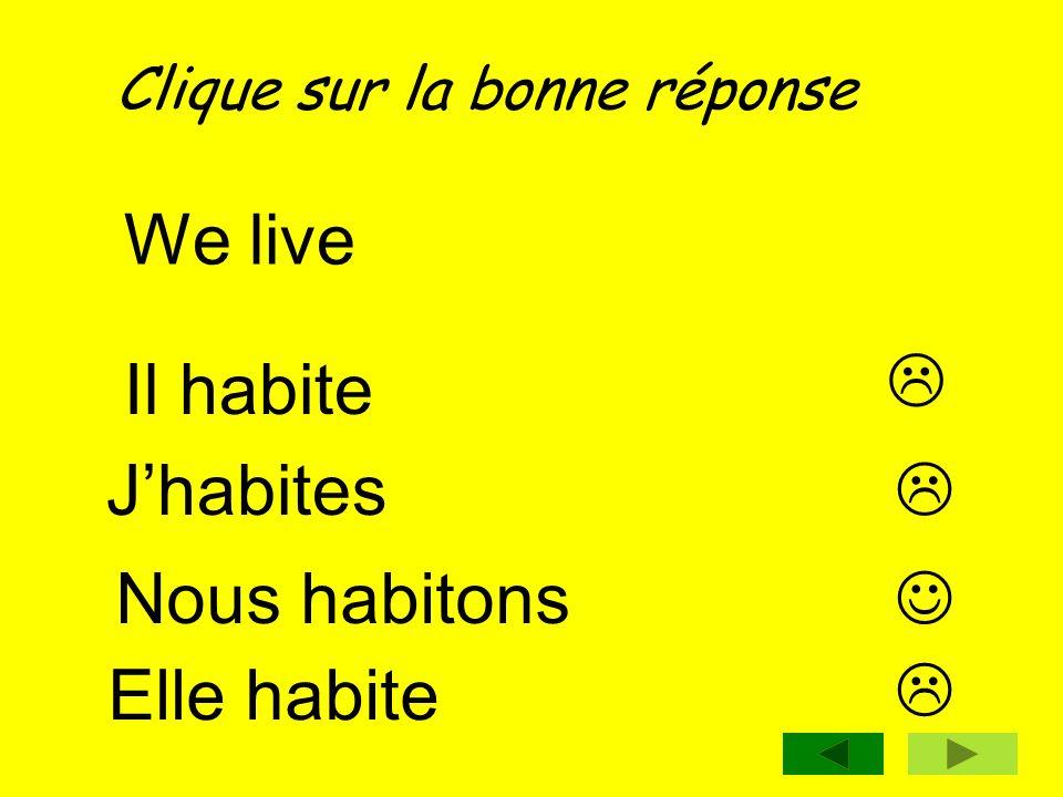We live  Il habite J'habites  Nous habitons  Elle habite 
