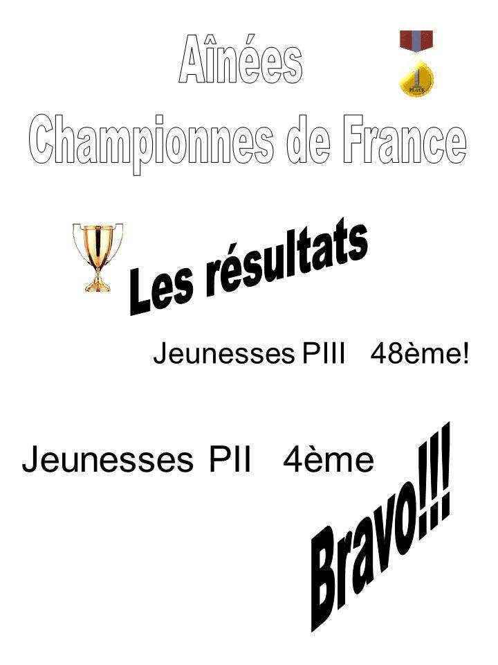 Jeunesses PII 4ème Aînées Championnes de France Les résultats Bravo!!!