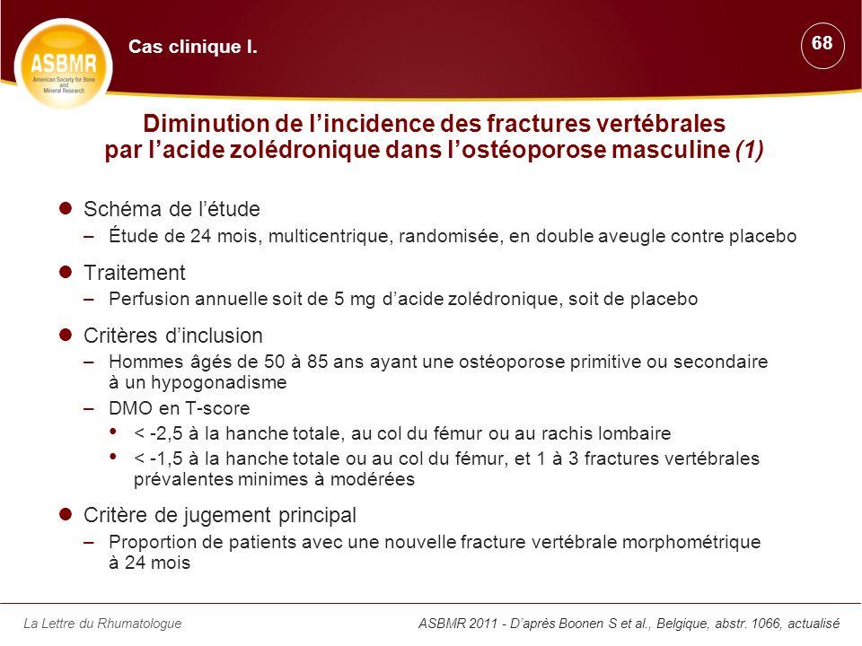 Cas clinique I. 68. Diminution de l'incidence des fractures vertébrales par l'acide zolédronique dans l'ostéoporose masculine (1)