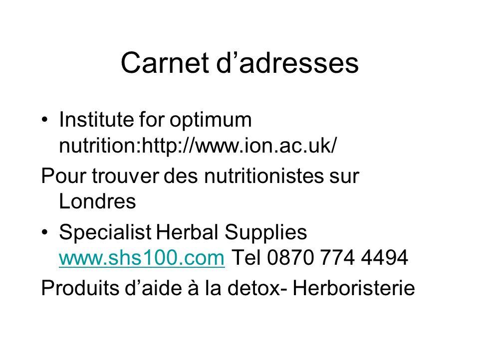 Carnet d'adresses Institute for optimum nutrition:http://www.ion.ac.uk/ Pour trouver des nutritionistes sur Londres.