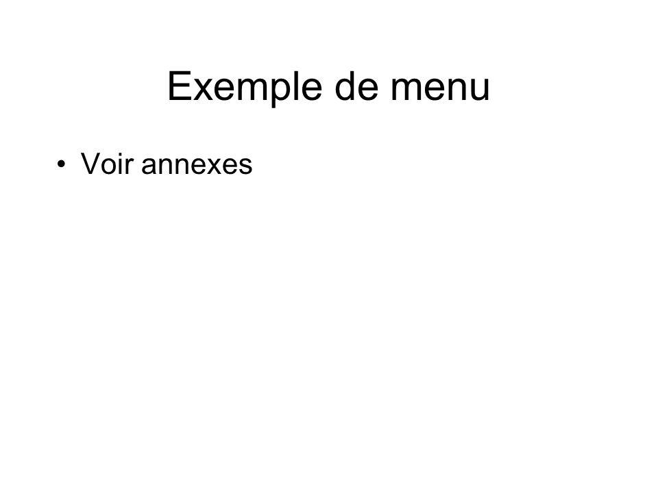 Exemple de menu Voir annexes Memoradum 2008
