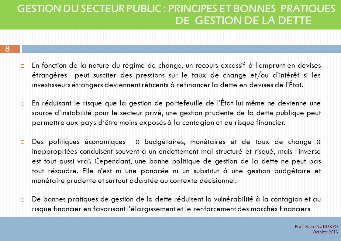 GESTION DU SECTEUR PUBLIC : PRINCIPES ET BONNES PRATIQUES