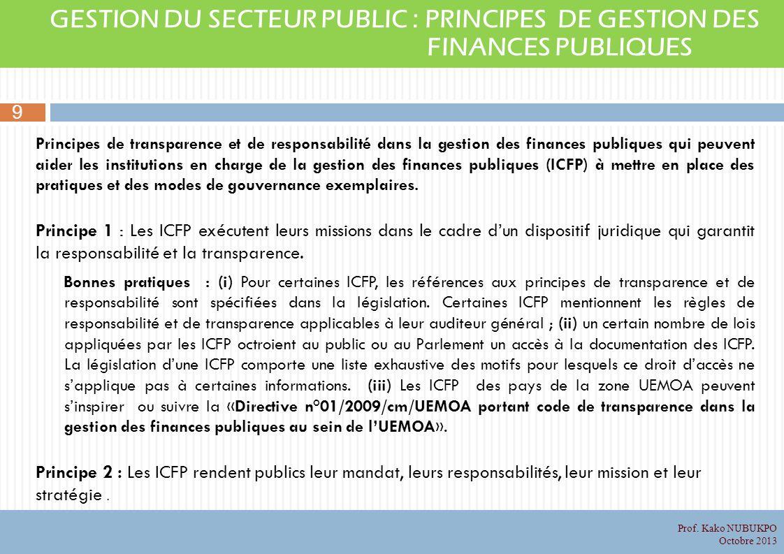 GESTION DU SECTEUR PUBLIC : PRINCIPES DE GESTION DES