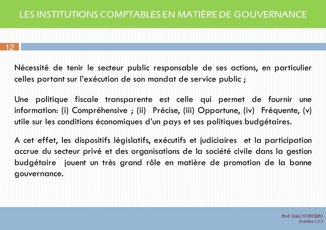 LES INSTITUTIONS COMPTABLES EN MATIÈRE DE GOUVERNANCE