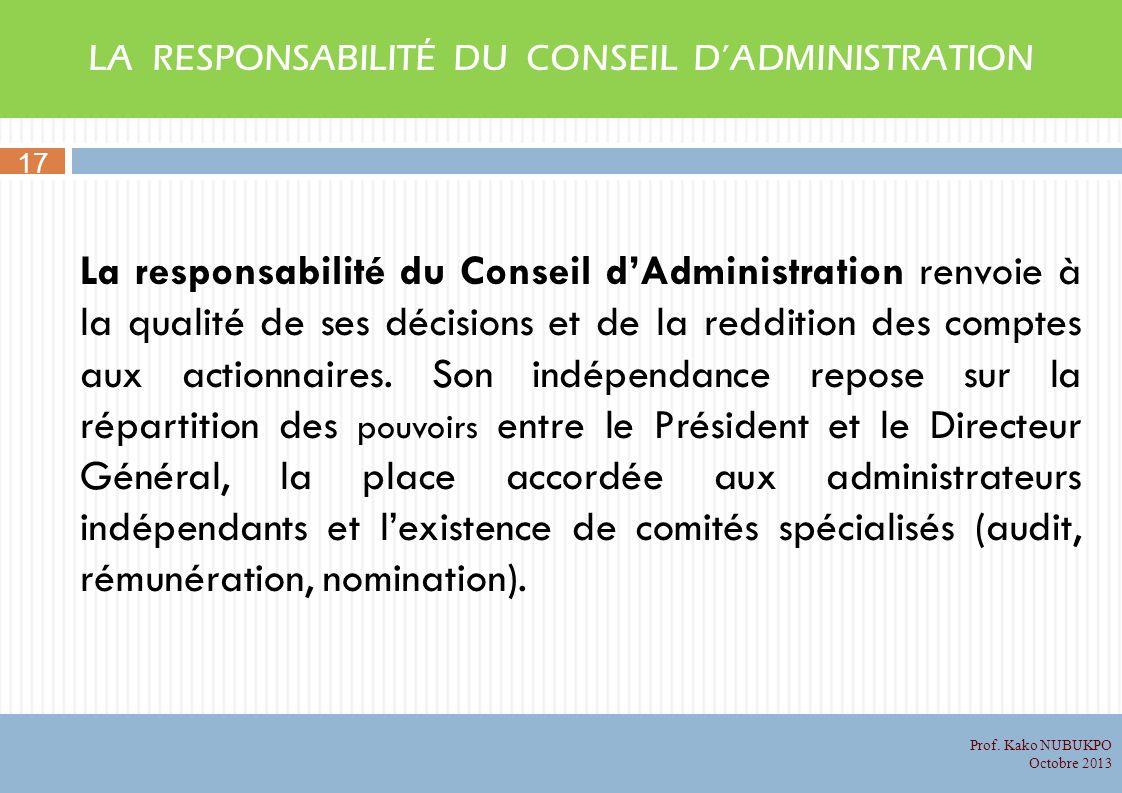 LA RESPONSABILITÉ DU CONSEIL D'ADMINISTRATION
