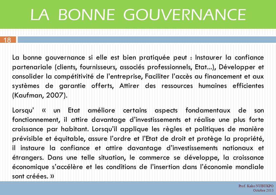LA BONNE GOUVERNANCE 18.