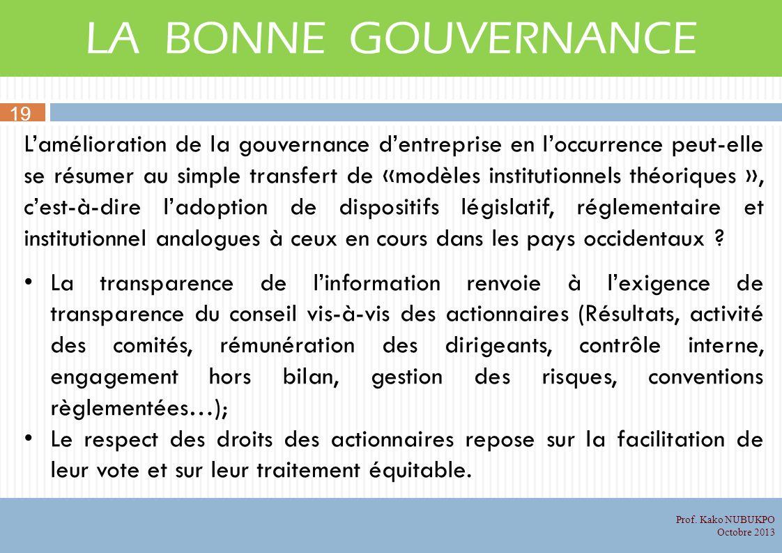 LA BONNE GOUVERNANCE 19.