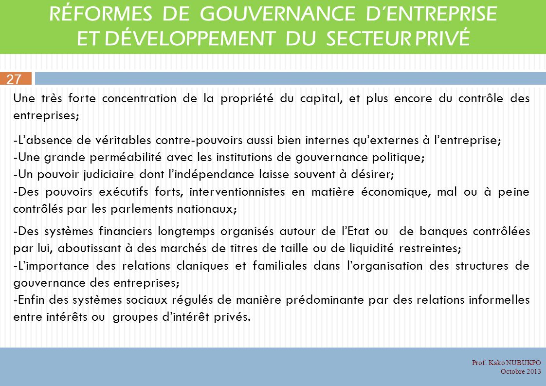 RÉFORMES DE GOUVERNANCE D'ENTREPRISE ET DÉVELOPPEMENT DU SECTEUR PRIVÉ