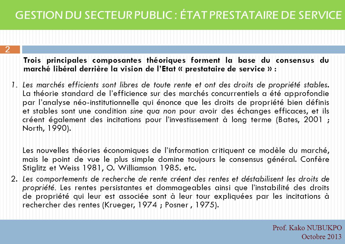 GESTION DU SECTEUR PUBLIC : ÉTAT PRESTATAIRE DE SERVICE
