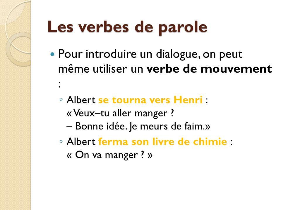 Les verbes de parole Pour introduire un dialogue, on peut même utiliser un verbe de mouvement :