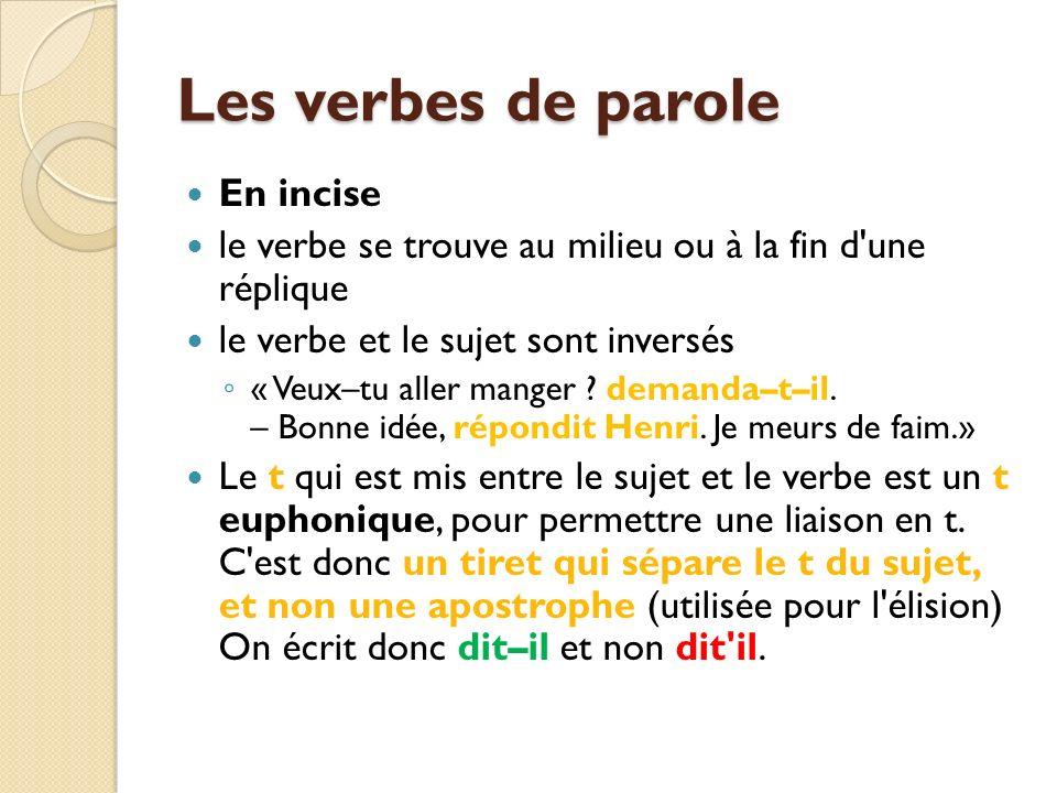 Les verbes de parole En incise