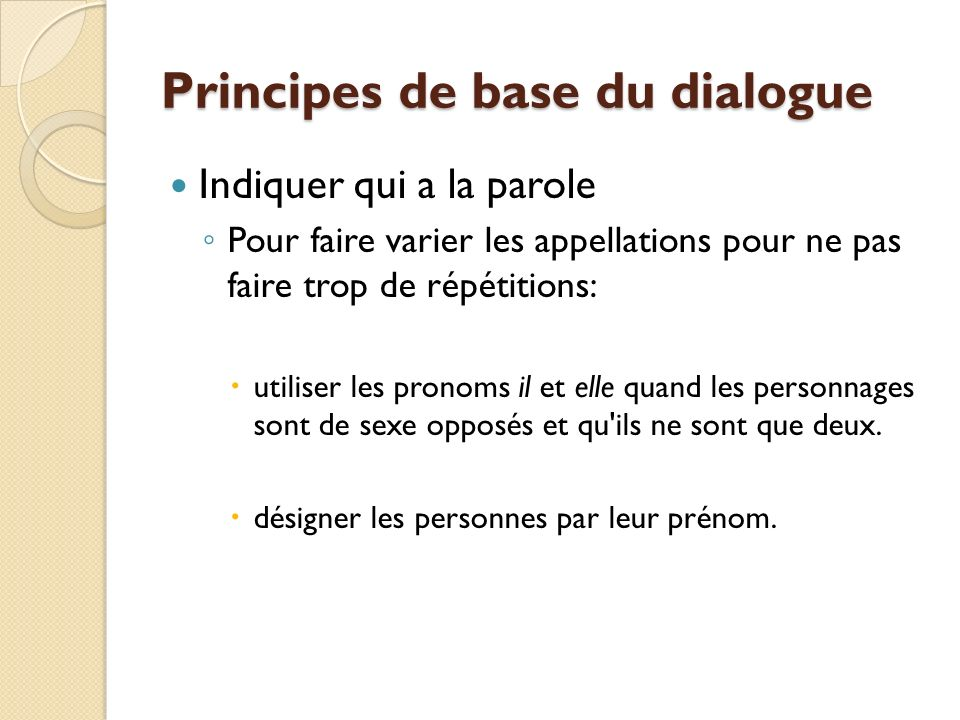 Principes de base du dialogue