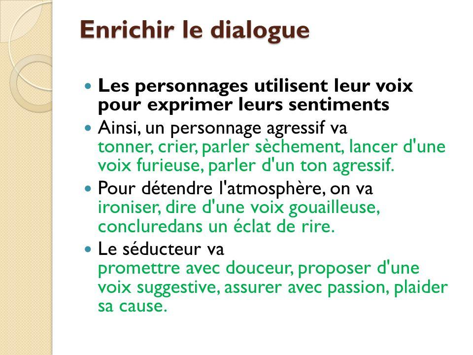 Enrichir le dialogue Les personnages utilisent leur voix pour exprimer leurs sentiments.