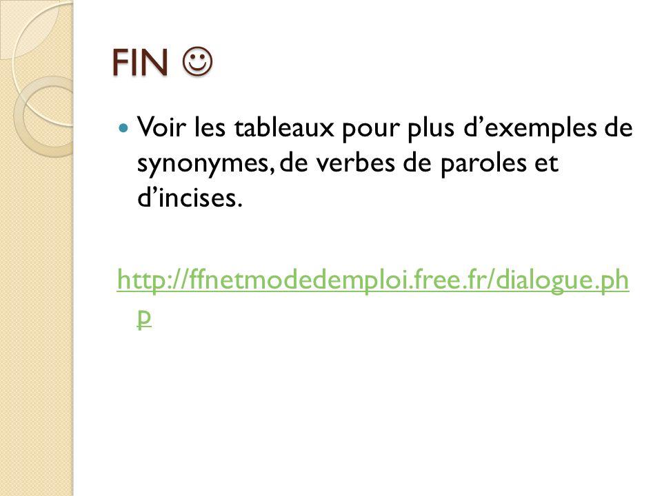 FIN  Voir les tableaux pour plus d'exemples de synonymes, de verbes de paroles et d'incises.