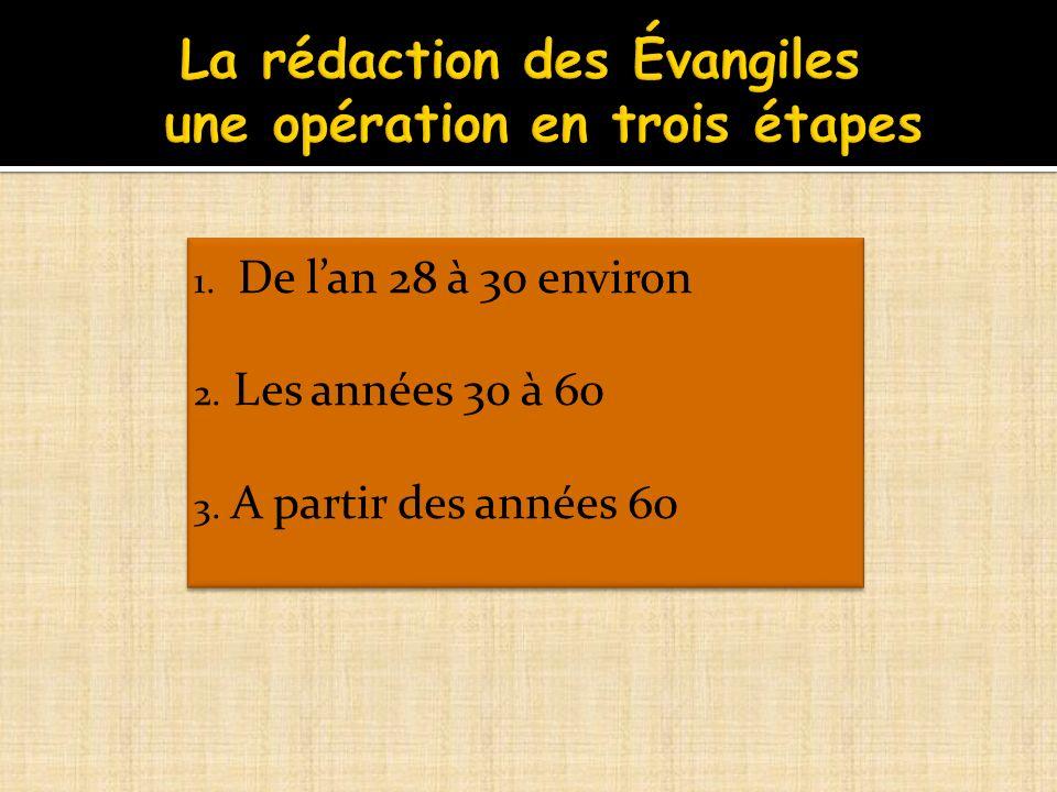La rédaction des Évangiles une opération en trois étapes