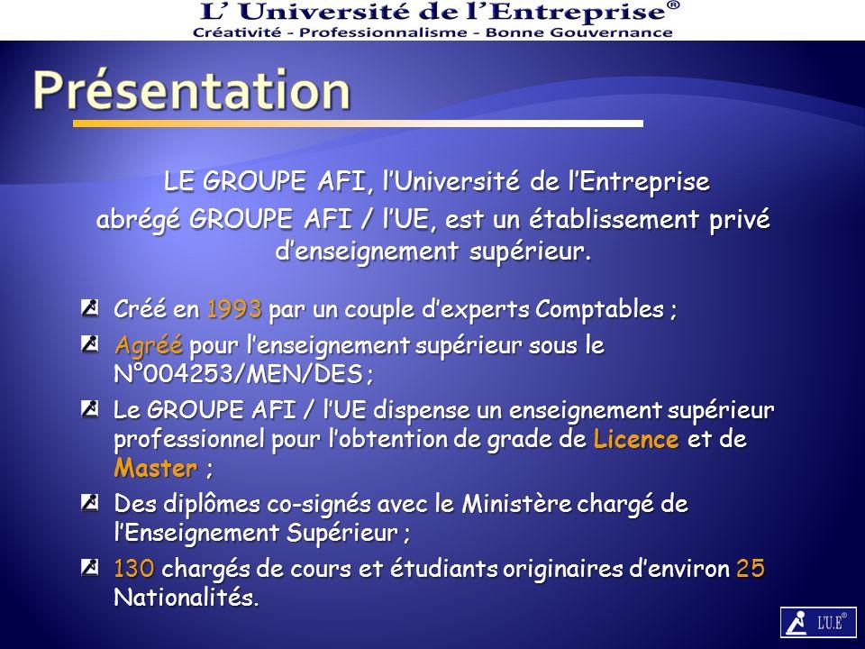 Présentation LE GROUPE AFI, l'Université de l'Entreprise abrégé GROUPE AFI / l'UE, est un établissement privé d'enseignement supérieur.