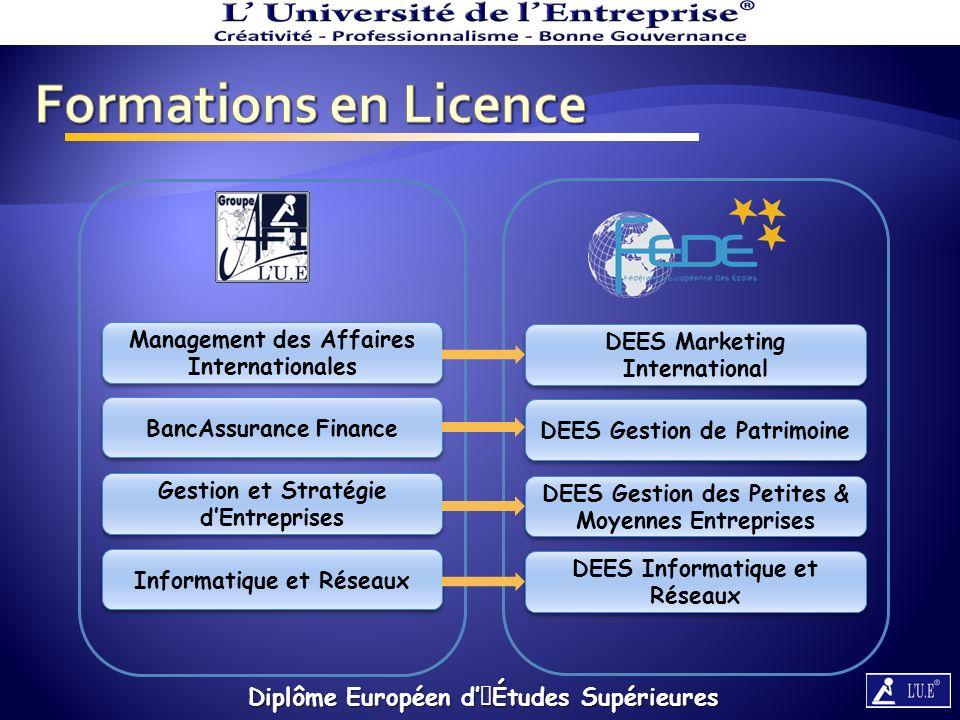 Formations en Licence Diplôme Européen d'Études Supérieures