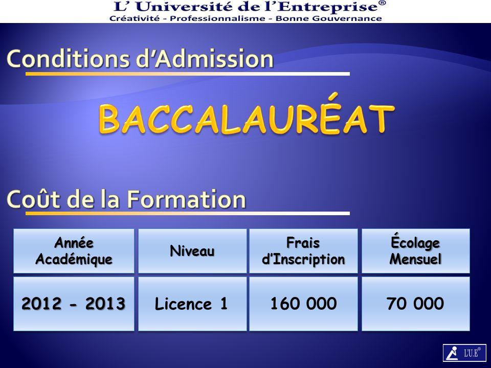 BACCALAURÉAT Conditions d'Admission Coût de la Formation 2012 - 2013