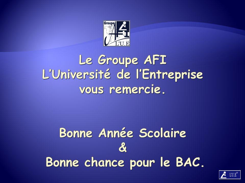 Le Groupe AFI L'Université de l'Entreprise vous remercie