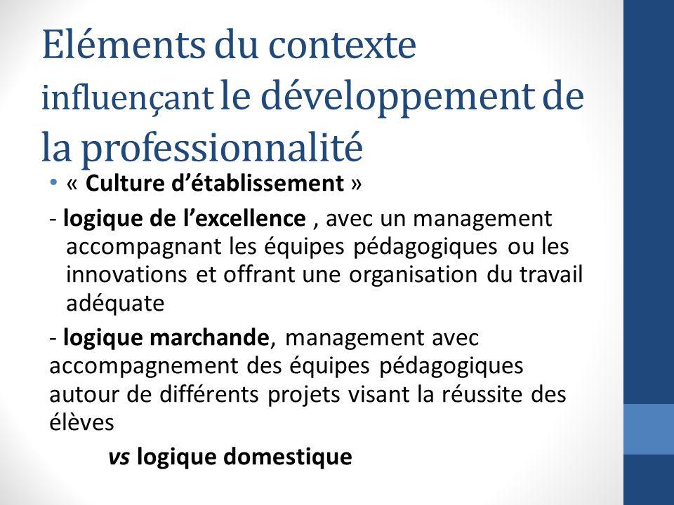 Eléments du contexte influençant le développement de la professionnalité