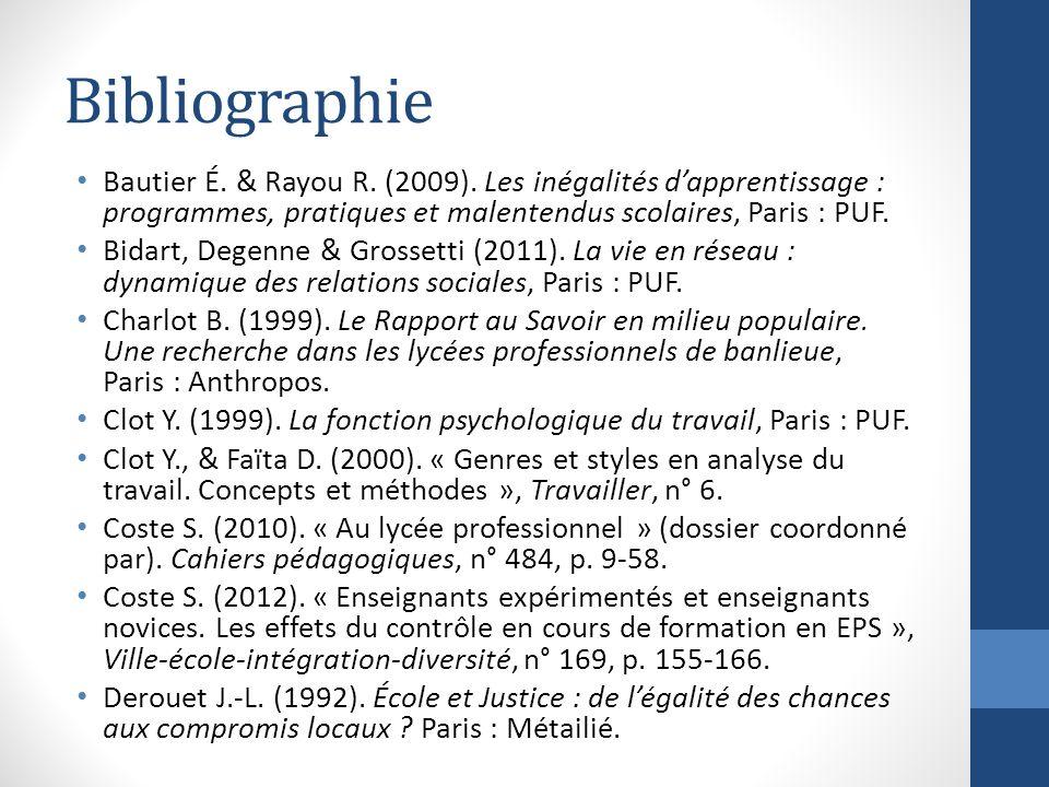 Bibliographie Bautier É. & Rayou R. (2009). Les inégalités d'apprentissage : programmes, pratiques et malentendus scolaires, Paris : PUF.