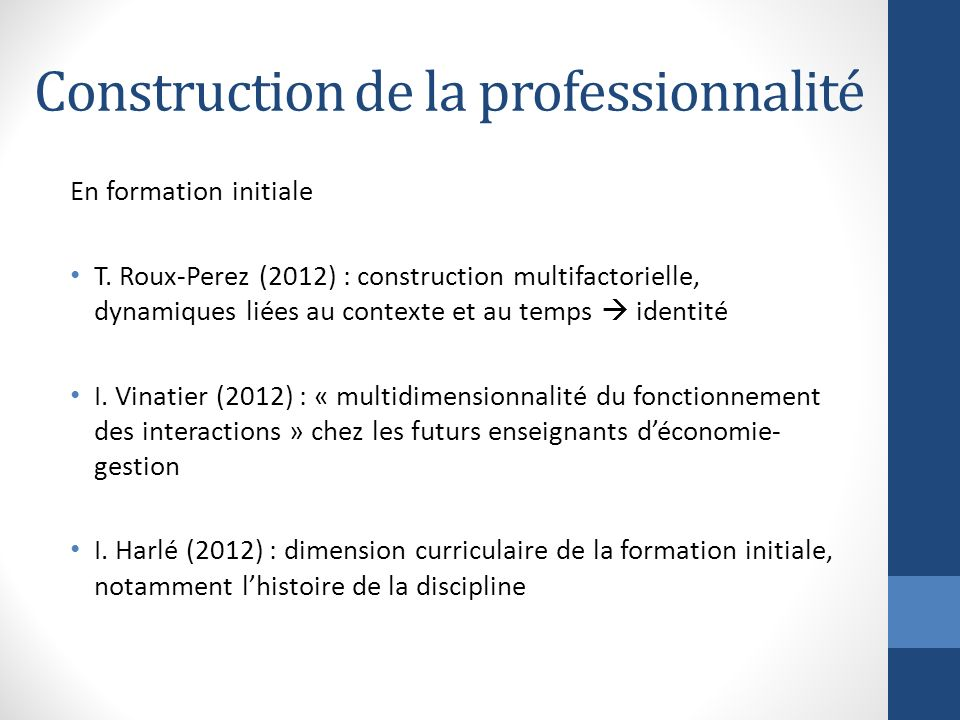 Construction de la professionnalité