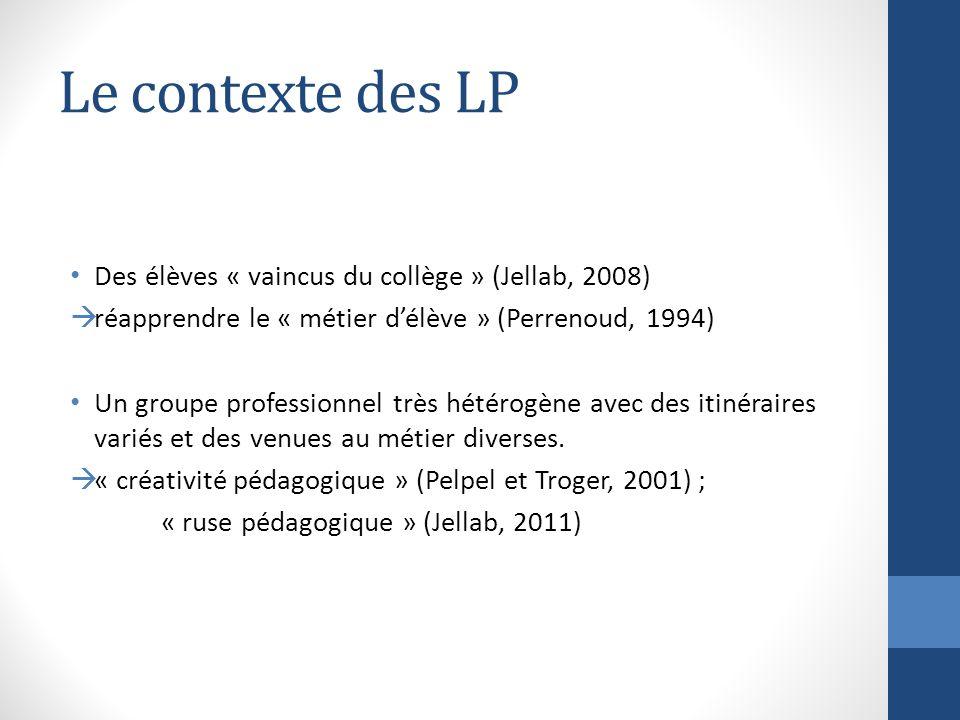 Le contexte des LP Des élèves « vaincus du collège » (Jellab, 2008)