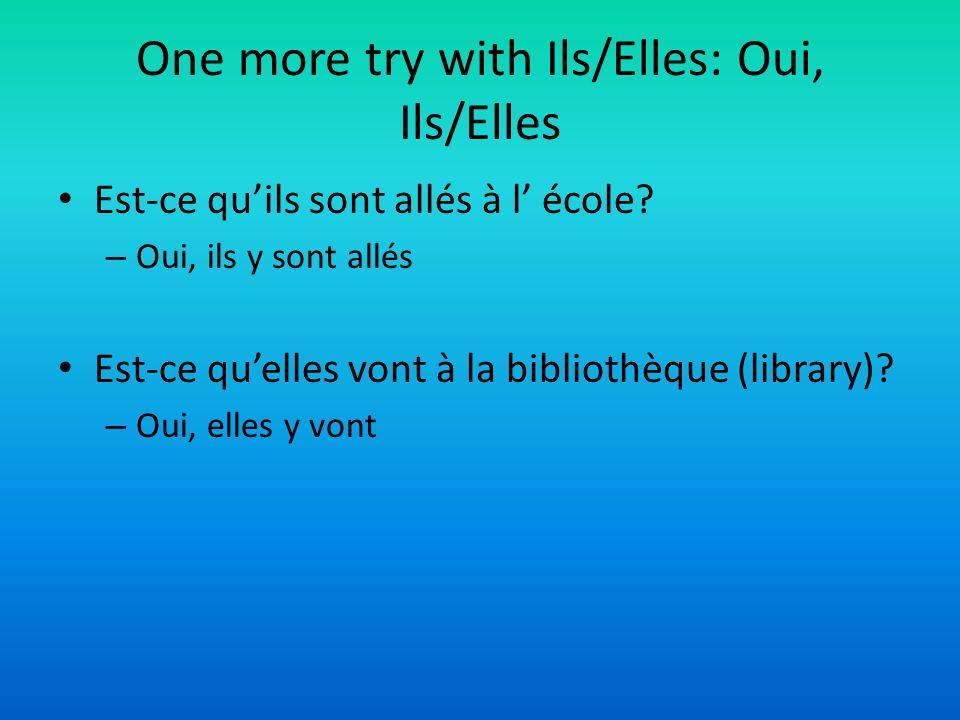 One more try with Ils/Elles: Oui, Ils/Elles