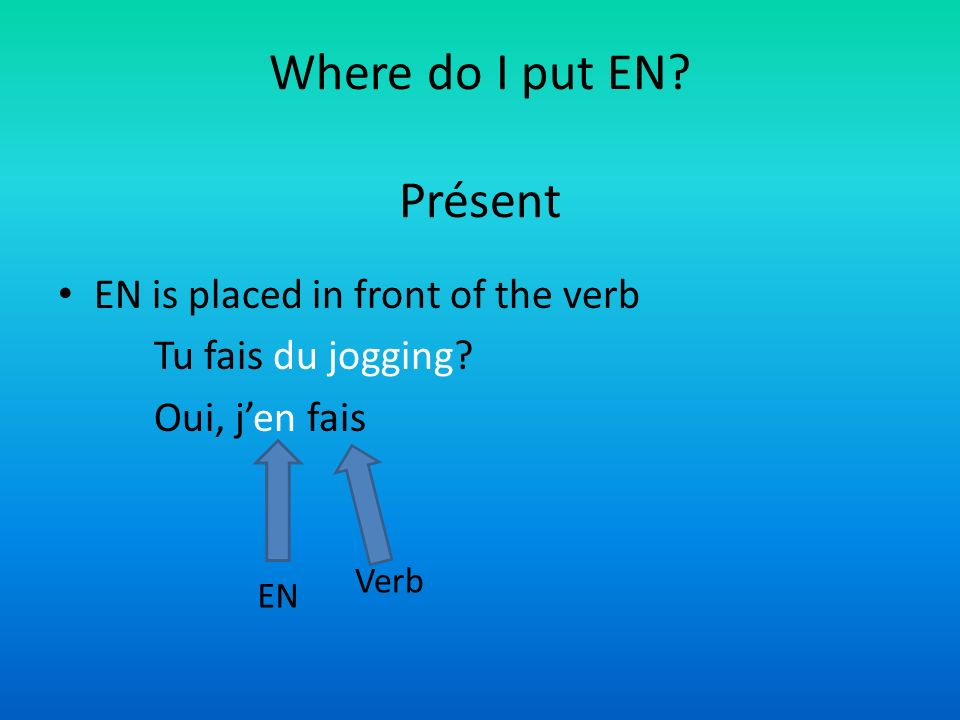 Where do I put EN Présent