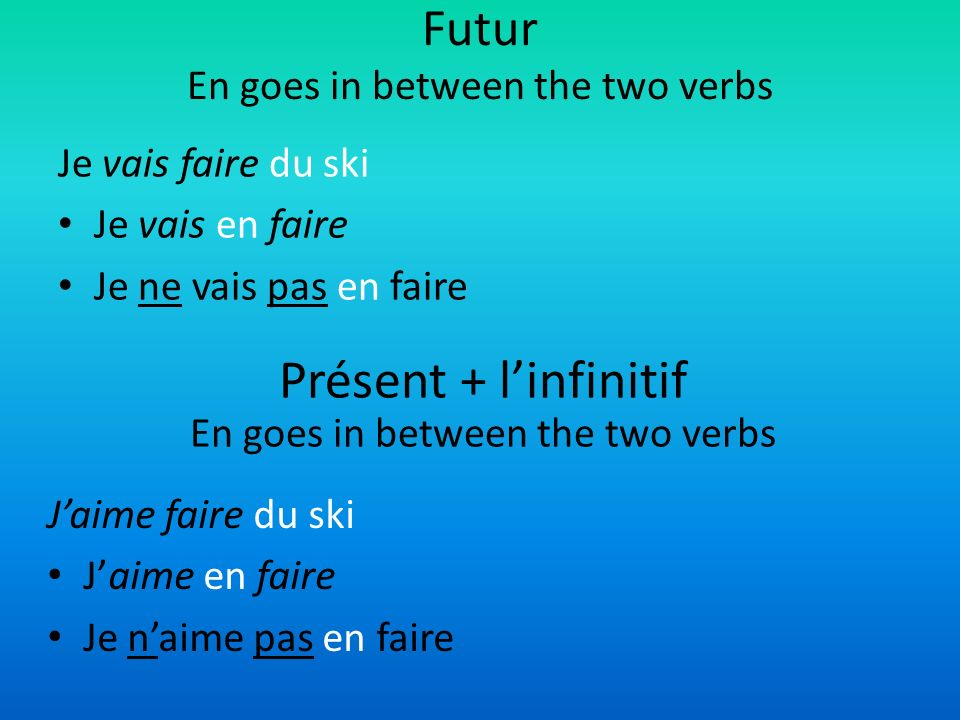 Futur En goes in between the two verbs