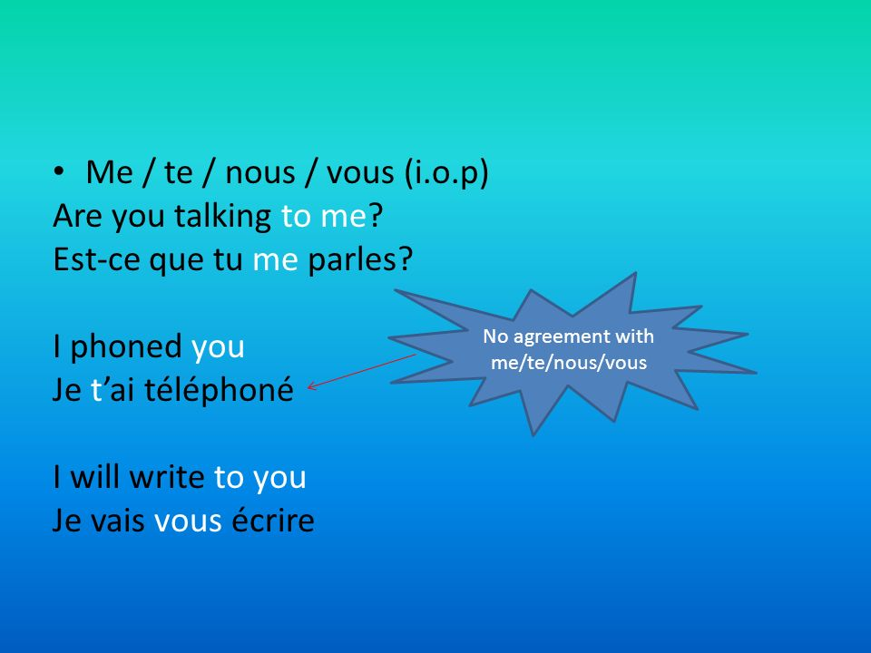 No agreement with me/te/nous/vous