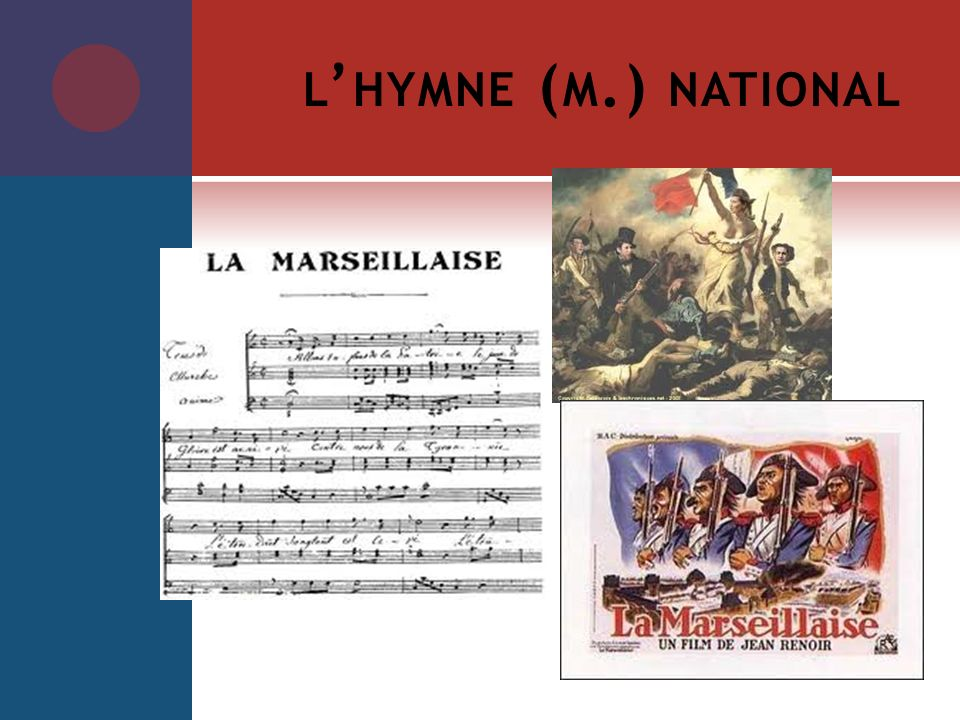 l'hymne (m.) national