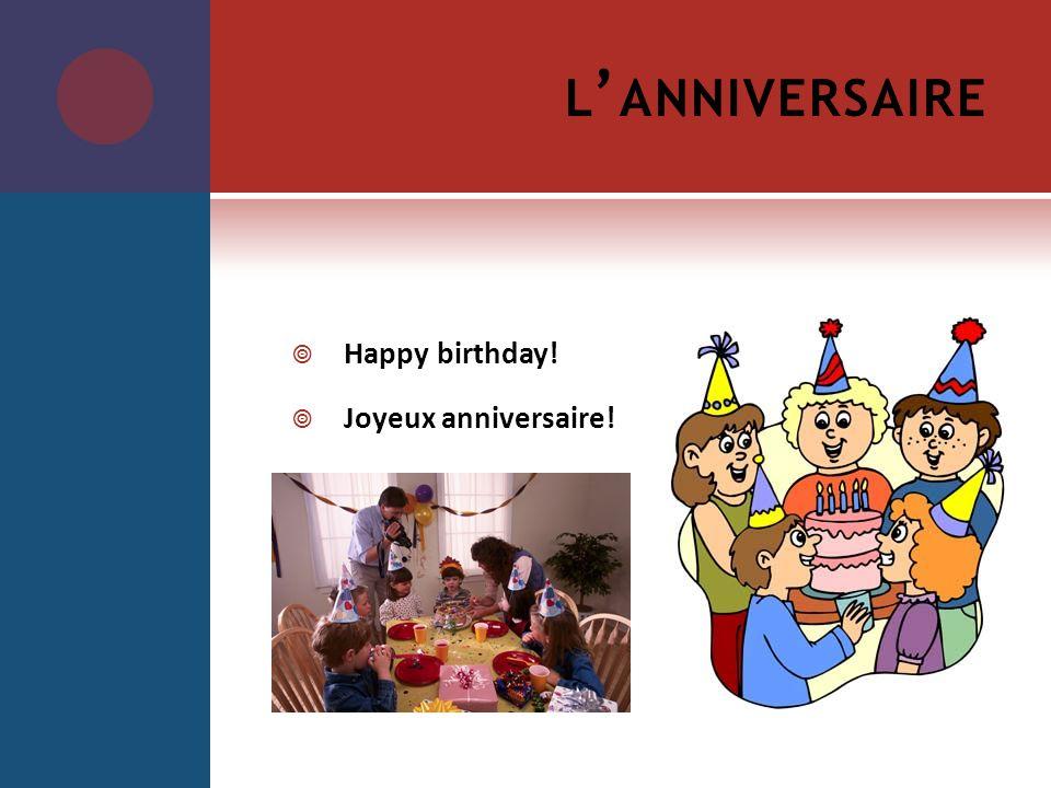 l'anniversaire Happy birthday! Joyeux anniversaire!