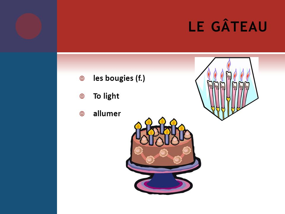 le gâteau les bougies (f.) To light allumer
