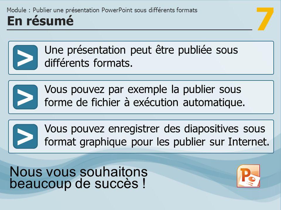 Module : Publier une présentation PowerPoint sous différents formats