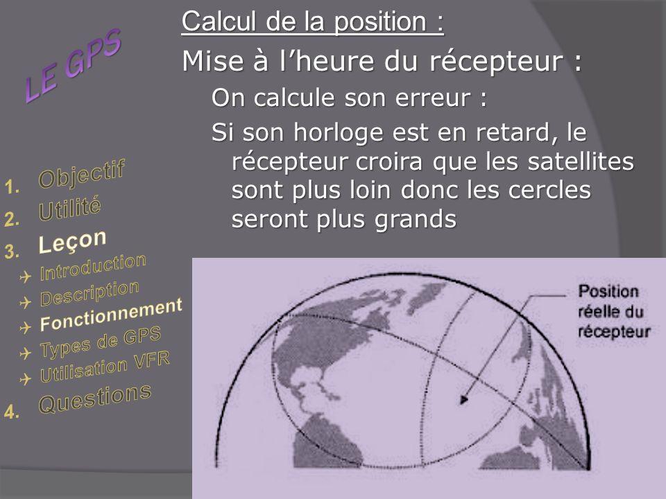 LE GPS Calcul de la position : Mise à l'heure du récepteur : Objectif