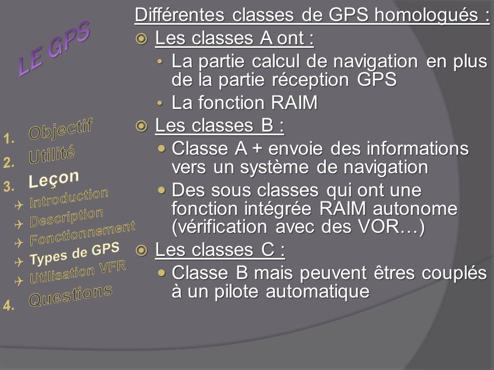 LE GPS Différentes classes de GPS homologués : Les classes A ont :