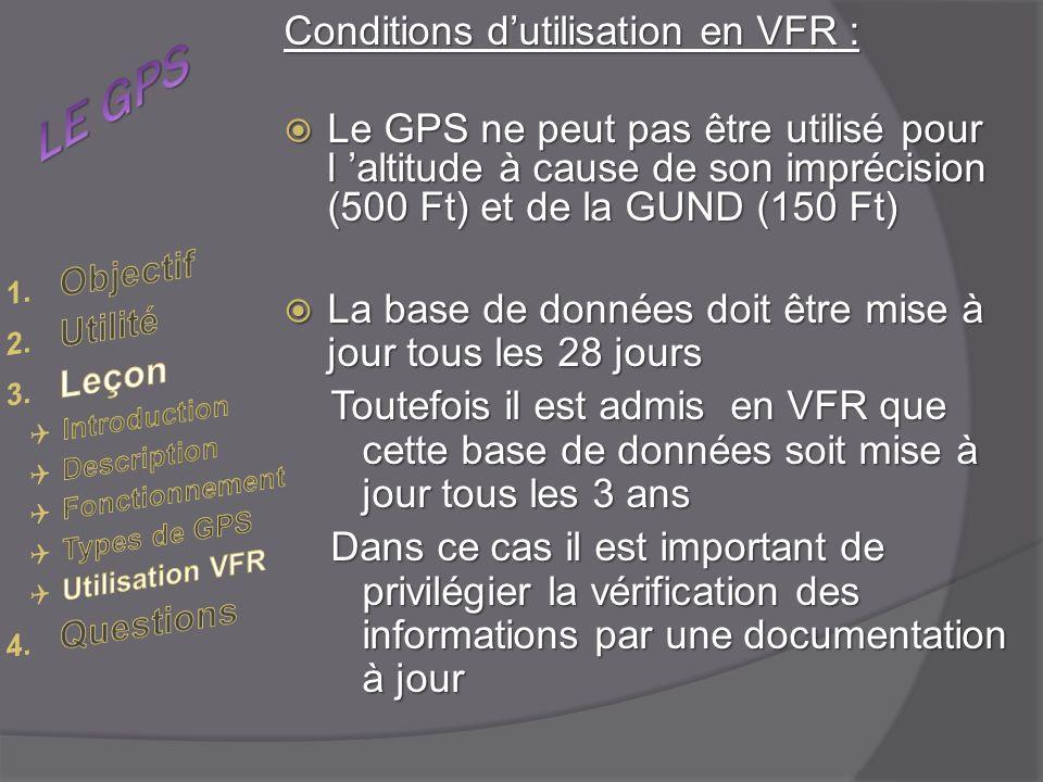 LE GPS Conditions d'utilisation en VFR :