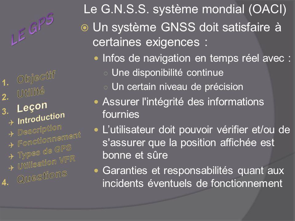 LE GPS Le G.N.S.S. système mondial (OACI)